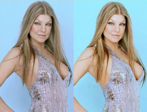 celebrities before and after photoshop, Fergie