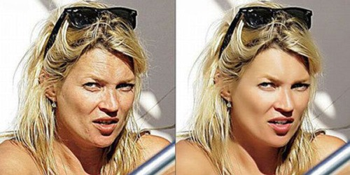 celebrities before and after photoshop, Kate Moss