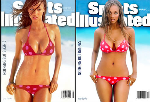 celebrities before and after photoshop, Tyra Banks, Sports Illustrated Cover