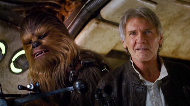 Star Wars The Force Awakens Harrison Ford Chewbacca Han Solo