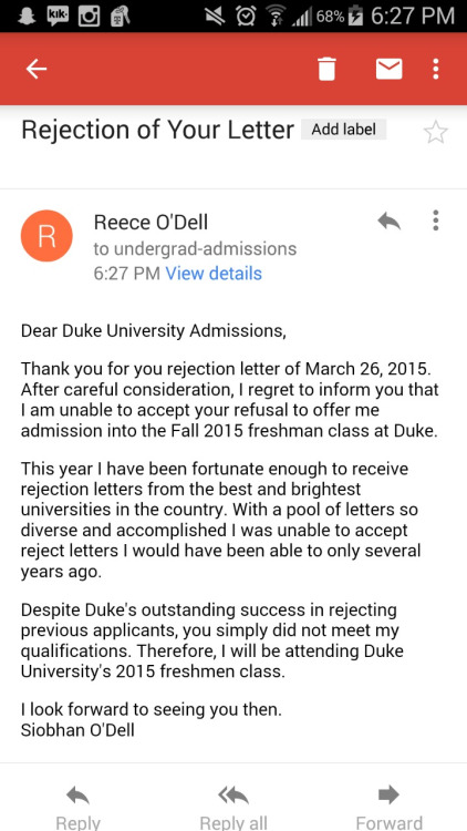 response to rejection letter