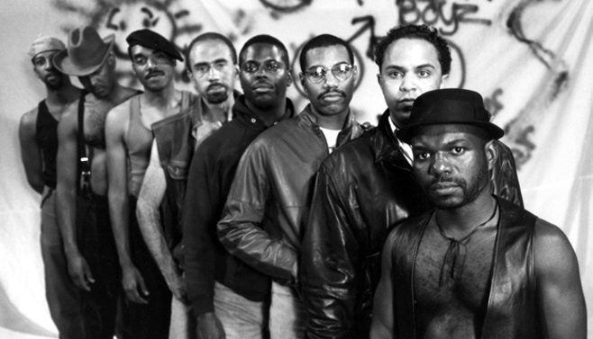 Director Marlon Riggs (in front) and cast in still from classic 1989 documentary Tongues Untied, about the lives of black gay/same-gender loving men.