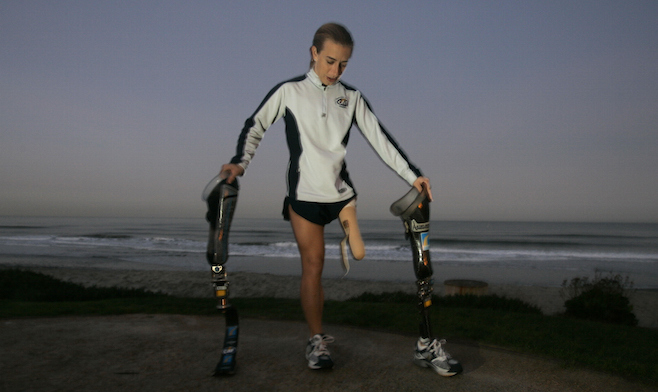 January 13, 2005. Del Mar, CA. Sarah Reinertsen swaps her everyday walking leg (with the shoe) for