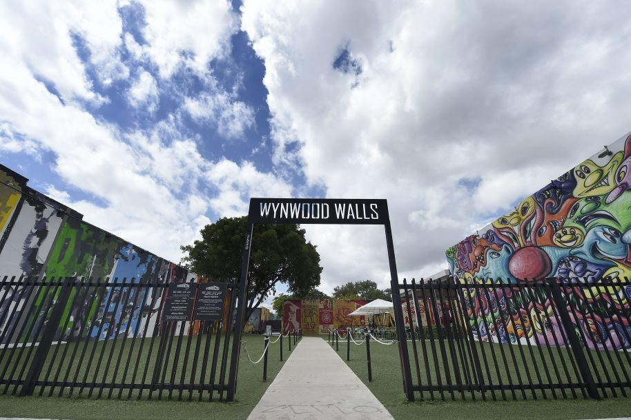 Clouds cover the entrance to the Wynwood Walls section of the Wynwood neighborhood in Miami, Florida, on September 28, 2016. Founder Tony Goldman, with his real estate company Goldman Properties, was devoted to revitalizing run down neighborhoods and create permanent outdoor mural exhibits. / AFP / RHONA WISE (Photo credit should read RHONA WISE/AFP/Getty Images)