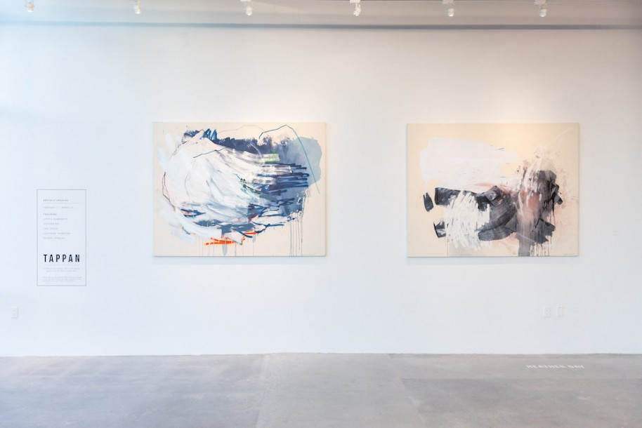 "Installation of paintings by Heather Day, ""Proximity to the Ocean"" and ""You Were Saying #2"""