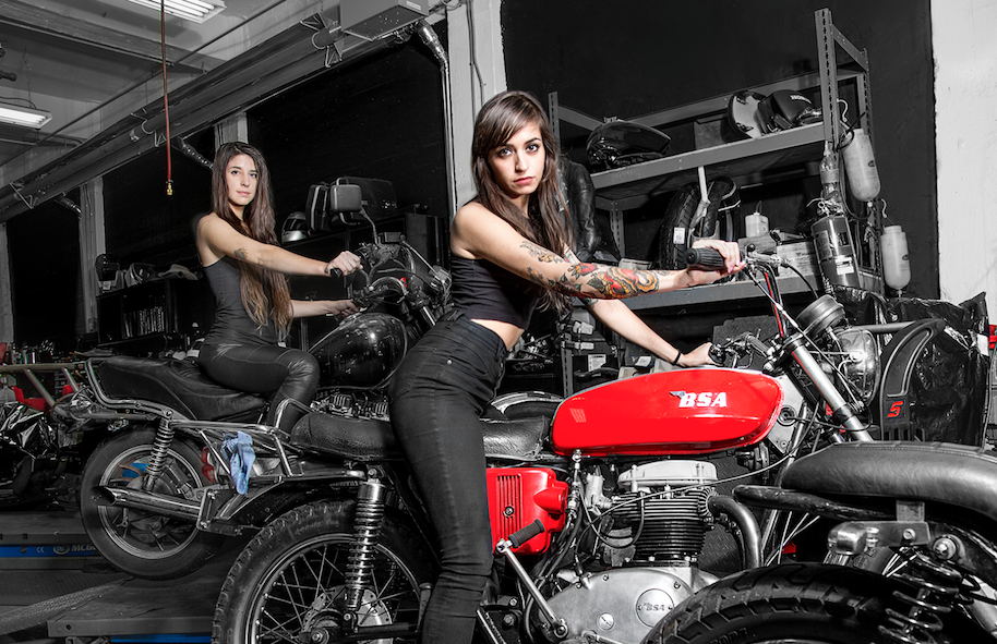 girls motorcycles Nude pin up on