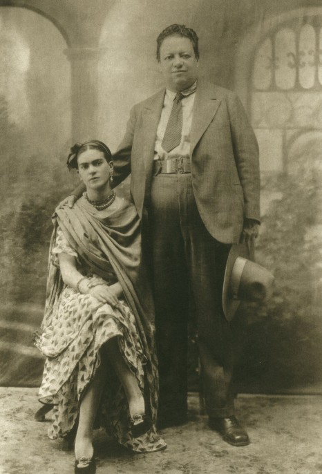 Victor Reyes. Diego and His Bride, Frida, Mexico, 1929. Gelatin silver print, 5 ¾ x 3 ¾ in. On loan from Throckmorton Fine Art.