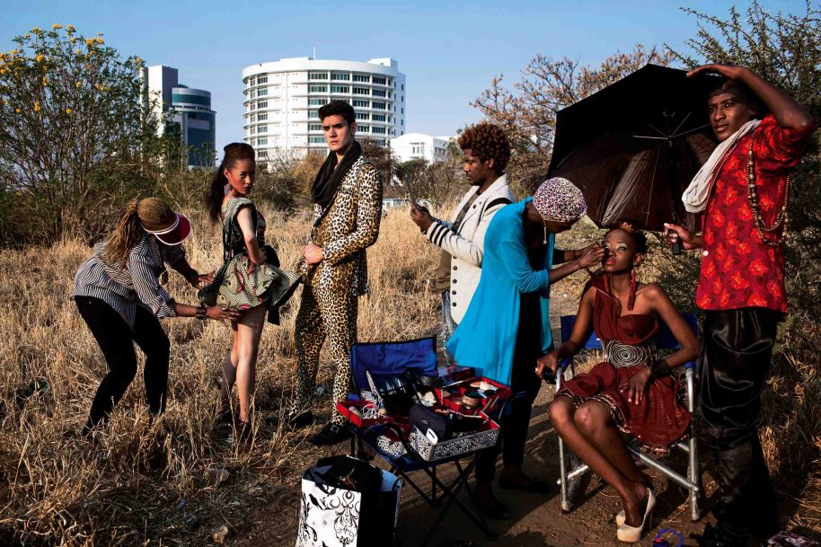 The Fashion label Black Trash, one of Botswana's leading designers, shoots on location with models and make-up artists a few days before the Color in the Desert Fashion Week in the Phakalane Golf Estate in Gaborone, Botswana 2012.