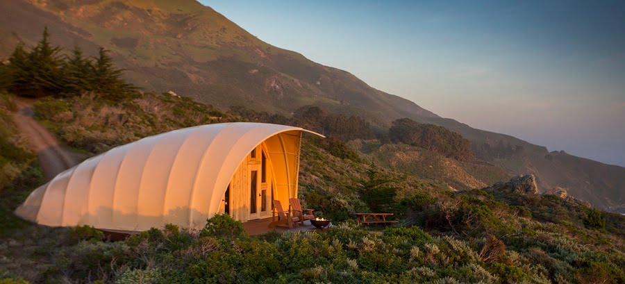 Autonomous Tent features a wood porch with a glow in the dark covering fabric. Photo courtesy of Autonomous Tent Co.