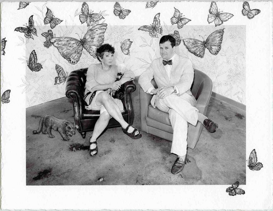 """Bushwick Chronicle – Meryl Meisler and James Panero with Butterflies, 2016, 8.5"""" x 11"""" gouache on archival pigment pring"""