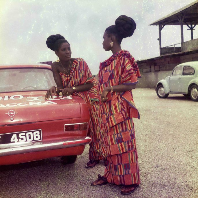 James Barnor, Untitled #2, Two friends dress for church celebration, Accra, 1972. Courtesy of Autograph ABP.