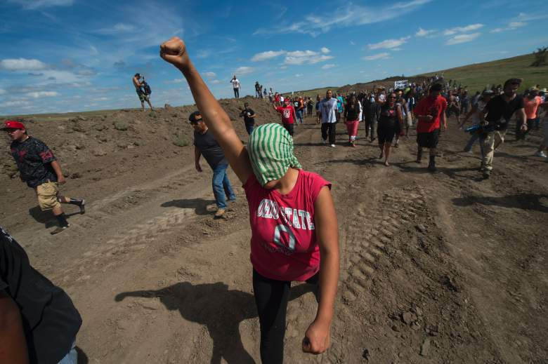 Native American protestors and their supporters demonstrate against work being done for the Dakota Access Pipeline (DAPL) oil pipeline, near Cannonball, North Dakota, September 3, 2016. (Getty)