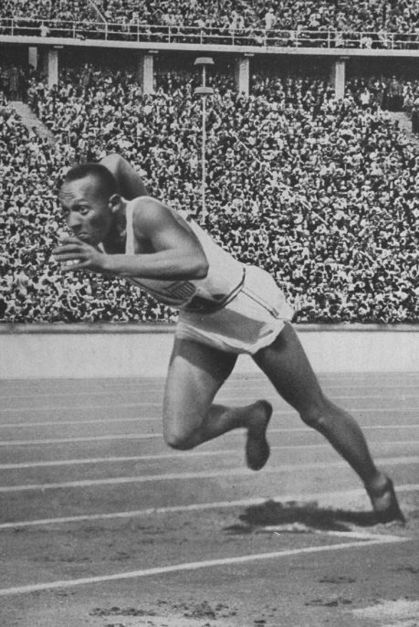 Photo: American Olympic athlete Jesse Owens runs his historic 200 meter race at the 11th Olympiad in Berlin. Owens won the race with a time of 20.7 seconds, establishing a new Olympic record. —Courtesy of Library of Congress