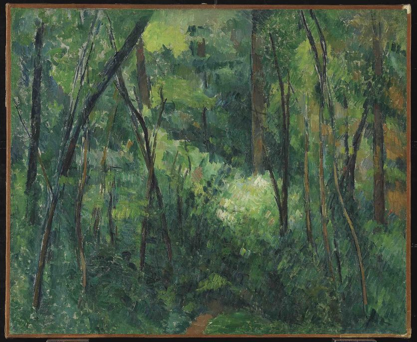 Paul Cézanne (1839–1903), Interior of a Forest, circa 1885, oil on canvas, 18 ¼ x 22 1/16 in. (46.4 x 56.1 cm), Collection of Art Gallery of Ontario, Canada; Given in loving memory of Saidye Rosner Bronfman by her family, 1996, 93/321