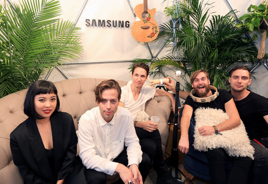 AUSTIN, TX - OCTOBER 01: (L-R) Recording artists Alisa Xayalith, Thom Powers, Aaron Short, David Beadle, and Jesse Wood of The Naked and Famous are seen in the Samsung Creator's Hub during day two at Austin City Limits Music Festival 2016 at Zilker Park on October 1, 2016 in Austin, Texas. (Photo by Sarah Kerver/Getty Images for Samsung)