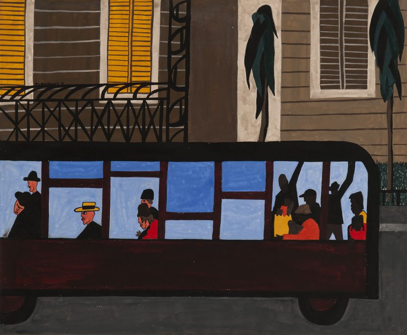 """Jacob Lawrence. Bus. 1941. Gouache on paper, 18 5/16 x 21 7/8"""" (47.8 x 55.6 cm). Collection of George Wein, Courtesy of Michael Rosenfeld Gallery LLC, New York, NY. © 2015 The Jacob and Gwendolyn Knight Lawrence Foundation, Seattle / Artists Rights Society (ARS), New York"""