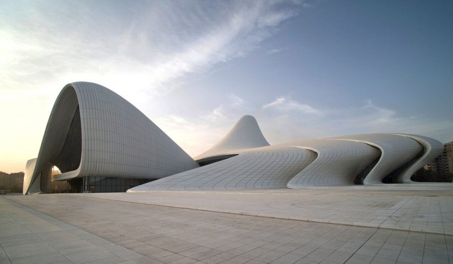 The Heydar Aliyev Center in Azerbaijan by Zaha Hadid is shortlisted for the RIBA Prize. Photo courtesy of Zaha Hadid Architects.