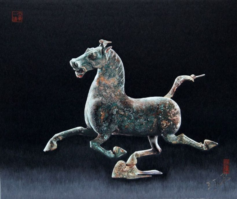 Wang Lihua Galloping Horse. Treading on a Flying Swallow. Silk. 20 x 22 inches