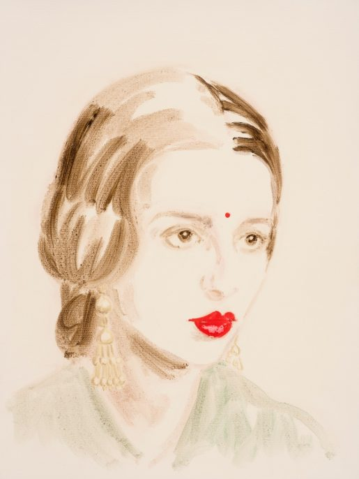 "Amrita Sher-Gil .From the series ""The History of Art"", 2014 - 2016. Oil on paper. 16 x 12 inches."