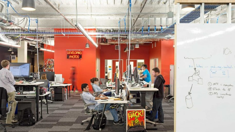 Gensler helped Facebook HQ achieve a sense of raw and unfiltered design. Photo courtesy of Gensler.