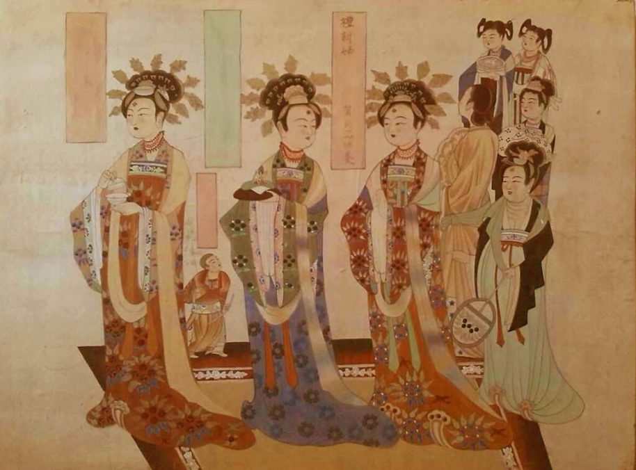 Shen Yongping. Portrait of Female Donors. (Mogao Cave 9, Late Tang Dynasty). Dizhang (mineral pigment on earthen plaster). 24 x 32 inches