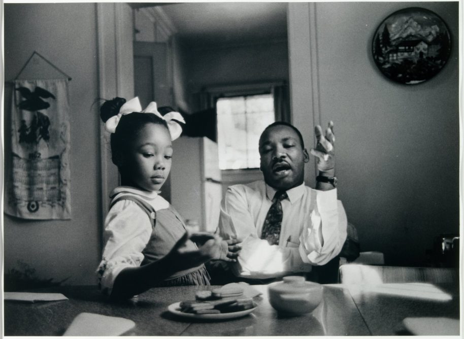 James Karales (American, 1930-2002), Dr. Martin Luther King Jr. at Home with His Family, 1962 (in Kitchen), 1962, gelatin silver print. High Museum of Art, Atlanta, purchase, 2008.38