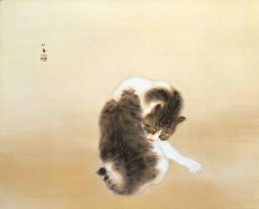 Takeuchi Seihō, Tabby Cat (Important Cultural Property) Color on Silk, Taishō Period, 1924 Yamatane Museum of Art