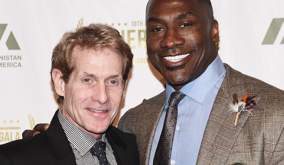 TV sports commentators Skip Bayless (L) and Shannon Sharpe attends the 2016 IAVA Heroes Gala at Cipriani 42nd Street on November 10, 2016 in New York City. (Photo by Nicholas Hunt/Getty Images)