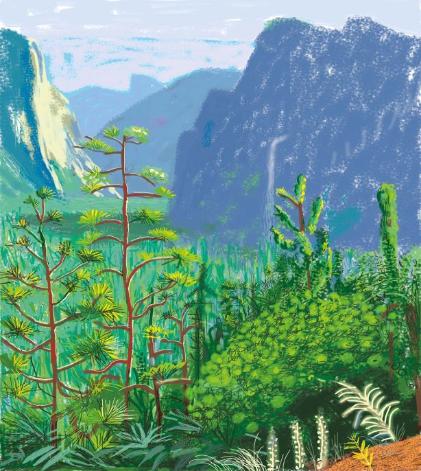 David Hockney. English 1937–. Yosemite I, October 16th 2011 (1059). iPad drawing. Collection of the artist © David Hockney. rom David Hockney: Current (Thames & Hudson, May 2017).