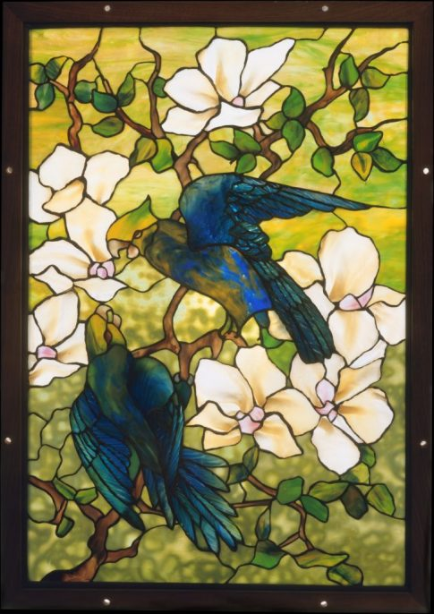 Louis Comfort Tiffany, Tiffany Studios, Hibiscus and Parrots (circa 1910–20). Courtesy of the Metropolitan Museum of Art.