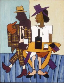 William H. Johnson, born Florence, SC 1901-died Central Islip, NY 190, 7Cafe, ca. 1939-1940, oil on paperboard 36 1/2 x 28 3/8 in. Gift of the Harmon Foundation 1967.59.669