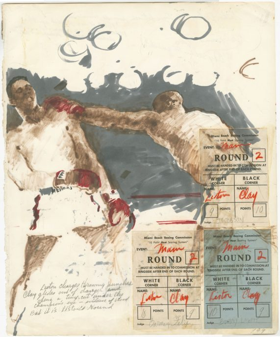 LeRoy Neiman. Round 2, February 25, 1964. Mixed media and collage on paper.. Courtesy LeRoy Neiman Foundation