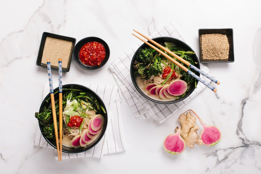 Above: Ramen with gingered greens and broccolini.