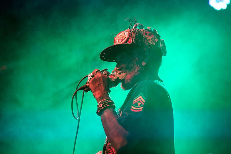 "Dubblestandart and Lee ""Scratch"" Perry at Popfest 2015; Karlsplatz in Vienna, Austria. Photo by Manfred Werner - Tsui. Courtesy of Wikimedia Commons."
