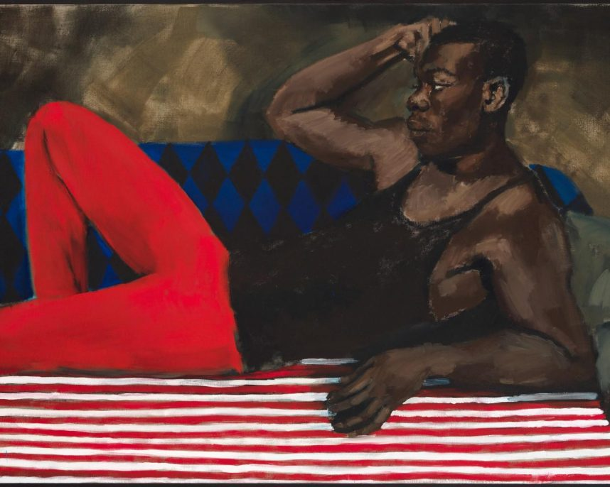 Lynette Yiadom-Boakye, Vigil For A Horseman, 2017 (part 2 of 3). Oil on linen, 51 3/8 × 79 in (130.5 × 200.5 cm). Courtesy the artist; Corvi-Mora, London; and Jack Shainman Gallery, New York.