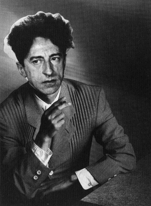 Jean Cocteau, in 1939, wearing a 1988 suit from Comme des Garçon's Homme Plus line. Superimposition of 1988 photograph by Shinji Mori on 1939 photograph by Gisèle Freund. From Sixth Sense 1.