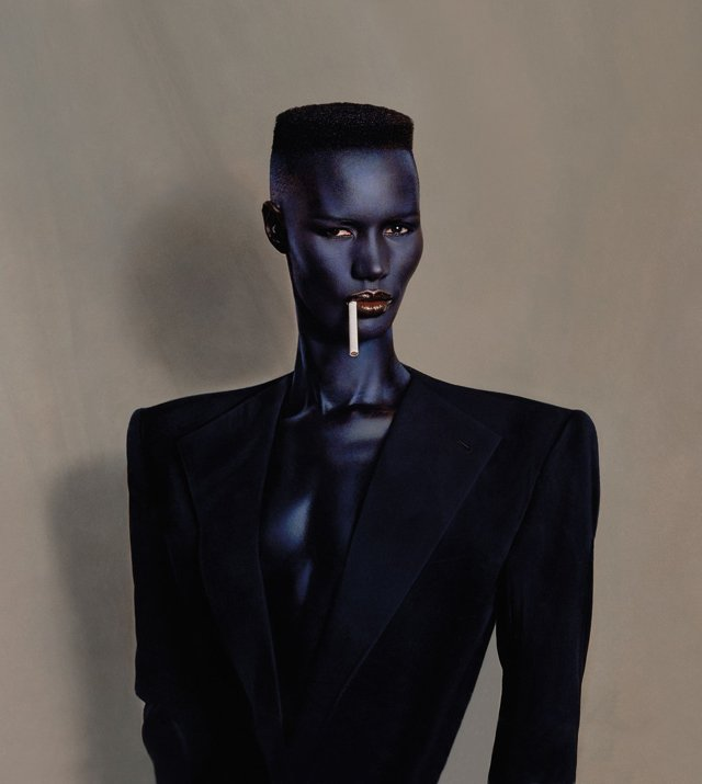 Blue-Black In Black On Brown, painted photo, New York, 1981. Jean-Paul Goude