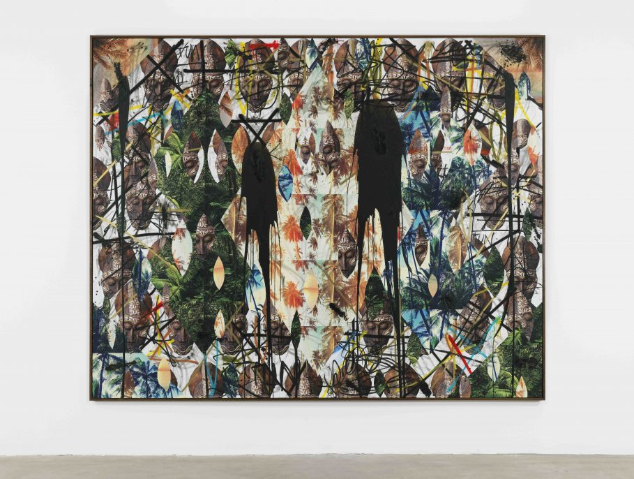 Rashid Johnson. Untitled Mask Collage, 2017, Vinyl, spray enamel, oil stick, black soap, and wax, 244 x 305 x 5 cm / 96 1/8 x 120 1/8 x 2 in.