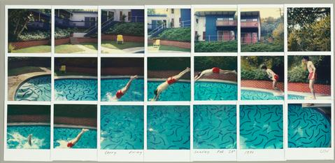 "David Hockney. ""Jerry Diving Sunday Feb. 28th 1982."" Composite polaroid, 10 1/2 x 24 1/2"" © David Hockney. Photo Credit: Richard Schmidt"