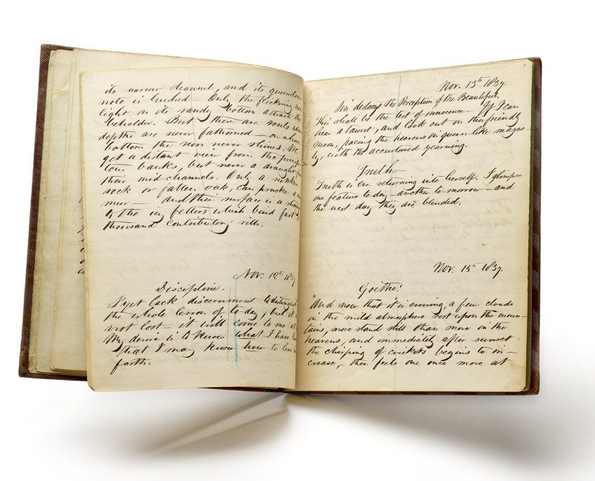 Henry D. Thoreau's earliest surviving journal notebook, open to entries from November 1837. The Morgan Library & Museum; purchased by Pierpont Morgan, 1909.