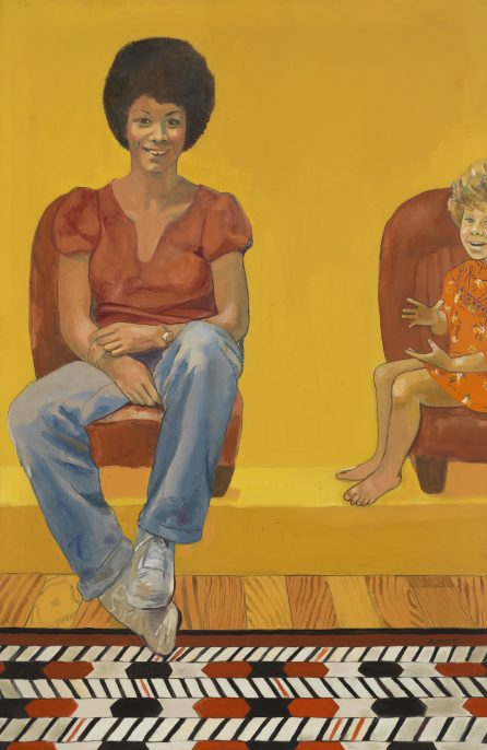 Emma Amos, Eva the Babysitter, 1973. Courtesy of the artist and Ryan Lee Gallery, NY.