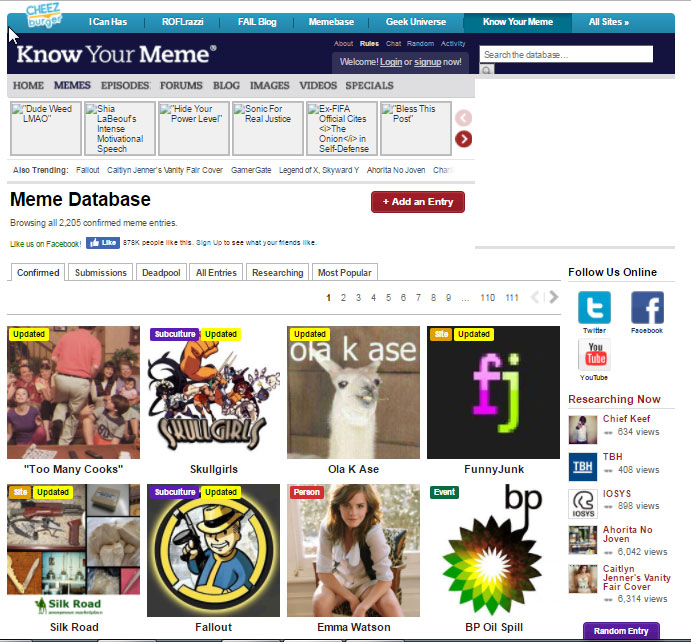 A page of entries from the meme database KnowYourMeme.com. Courtesy of the Library of Congress.
