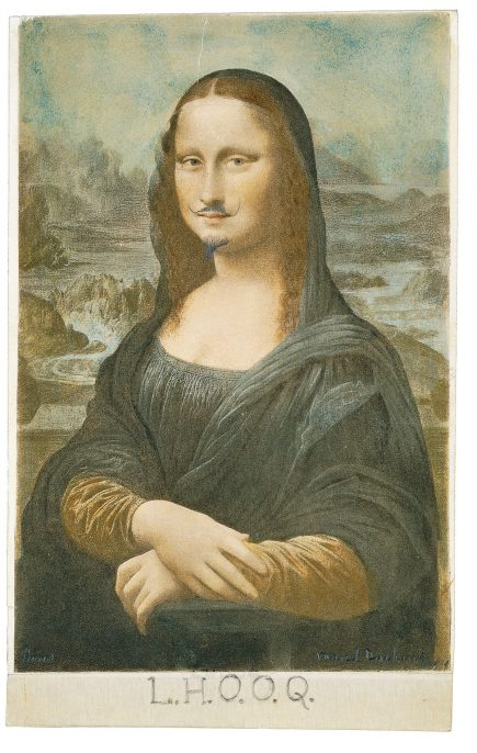 Marcel Duchamp, L.H.O.O.Q, 1919. Pencil on postcard of Leonardo da Vinci's Mona Lisa. 19.7 x 12.4 cm. Private Collection © Succession Marcel Duchamp/ADAGP, Paris and DACS, London 2016.
