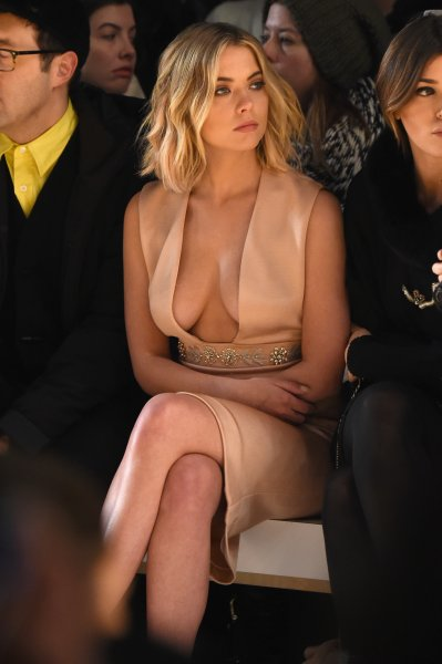 Actress Ashley Benson attends the Reem Acra fashion show during Mercedes-Benz Fashion Week Fall