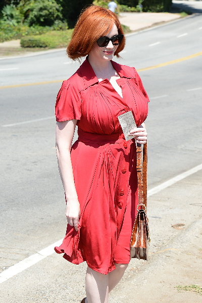 Christina Hendricks Goes to a Private Party in Brentwood