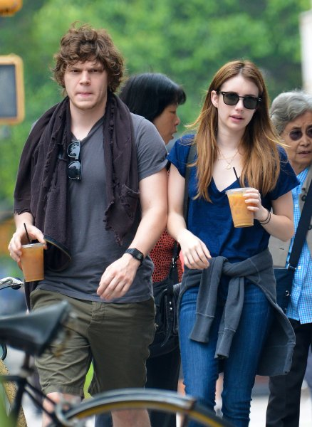 Emma Roberts gets an iced coffee with her boyfriend Evan Peters in the East Village