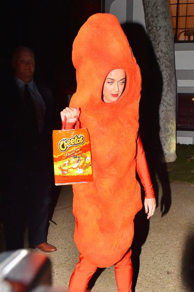 Katy Perry poses in a Cheeto costume at Kate Hudson's halloween party Featuring: Katy Perry Where: Los Angeles, California, United States When: 30 Oct 2014 Credit: WENN.com