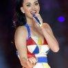 Katy Perry performs high above the stage and field during the Super Bowl XLIX Halftime Show