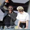 Miley Cyrus and Will.i.am performing live on 'Jimmy Kimmel Live!' in Hollywood