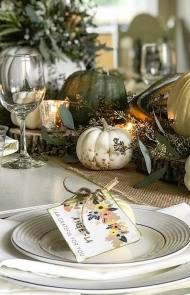 Green, White, and Gold Tablescape